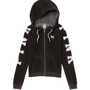 PINK Victoria's Secret Black Grunge Zip-Up Hoodie